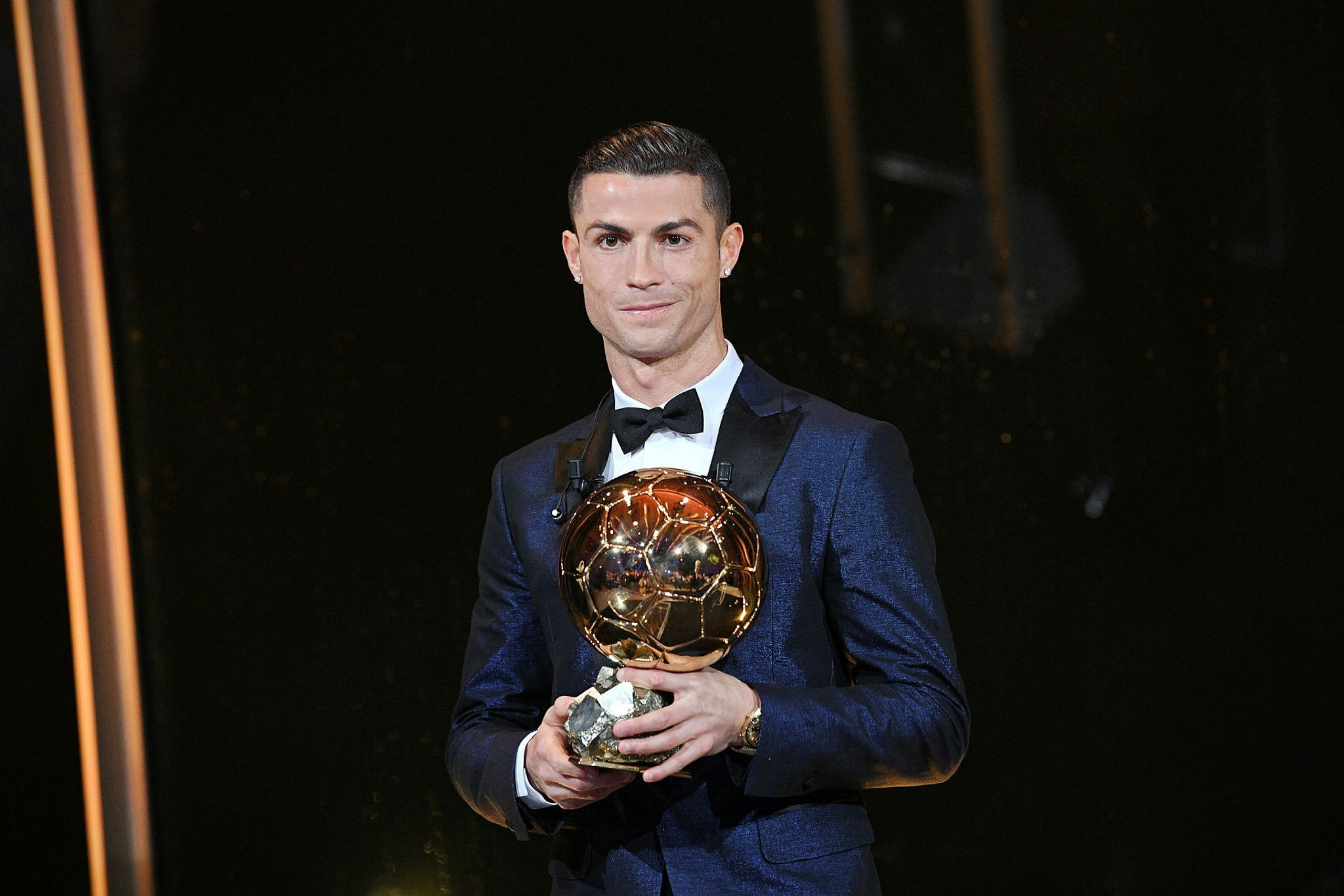 A handout photo made available by the l'Equipe Presse Office on 07 December 2017 of Real Madrid's Portuguese striker Cristiano Ronaldo posing with his trophy after receiving the 62nd Ballon d'Or award in Paris, France, 07 December 2017. (EPA Photo)
