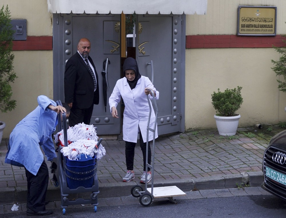 Cleaning personnel enter Saudi Arabia's Consulate in Istanbul hours before an inspection was supposed to be carried out.