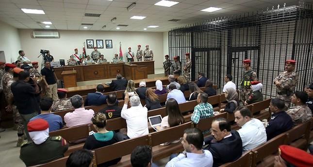Jordanian judges reside over the trial of Maarik Al-Tawaiha (AFP Photo)