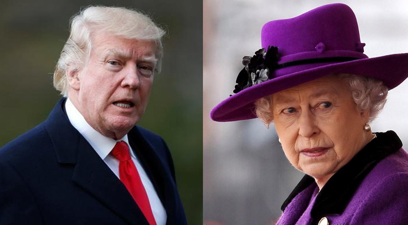 Trump (L) and Queen Elizabeth II