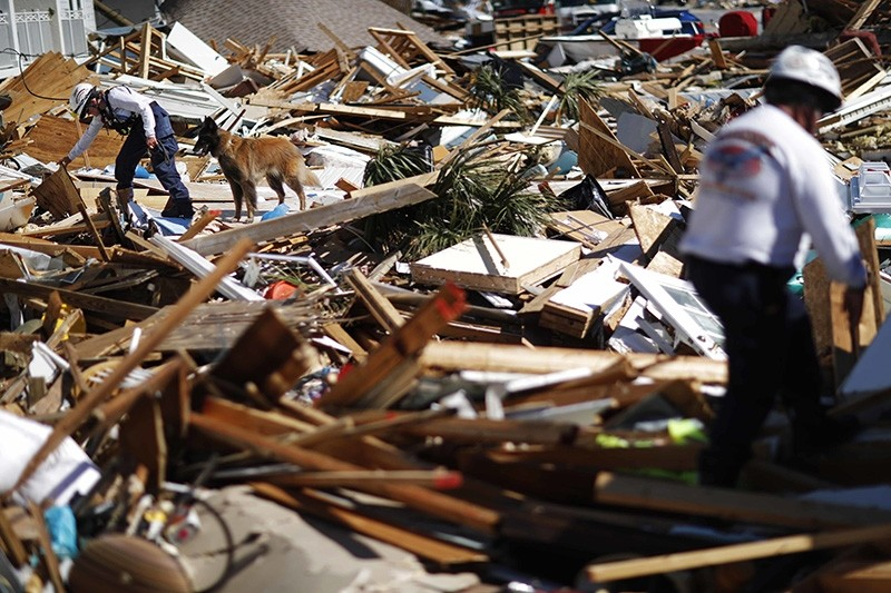 A member of a Tennessee urban search and rescue team works a debris pile with a dog in the aftermath of hurricane Matthew in Mexico Beach, Fla., Friday, Oct. 12, 2018. (AP Photo)