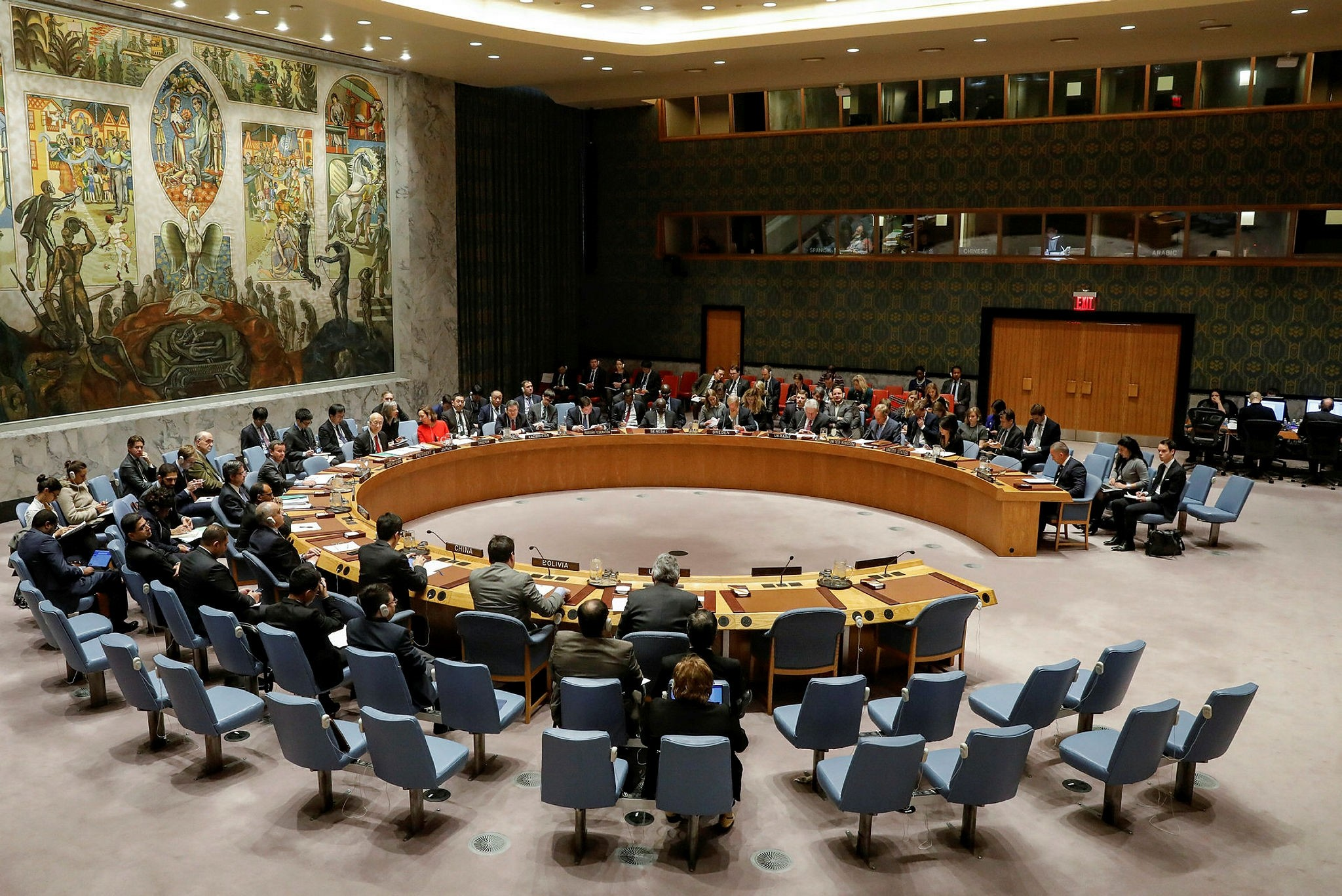 The United Nations Security Council meets on the situation in the Middle East, including Palestine, at U.N. Headquarters in New York City, New York, U.S., December 18, 2017. (Reuters Photo)