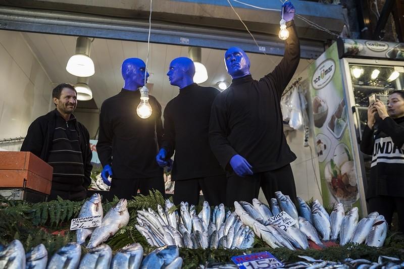 Blue Man Group at the fish market