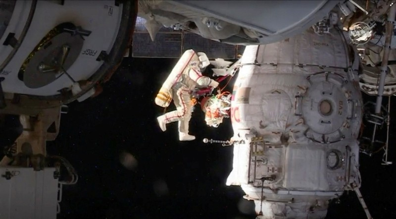 Russian cosmonaut Oleg Kononenko conducts a spacewalk outside the International Space Station Space (ISS) in this still image captured from NASA video in space, Dec. 11, 2018. (NASA via Reuters)