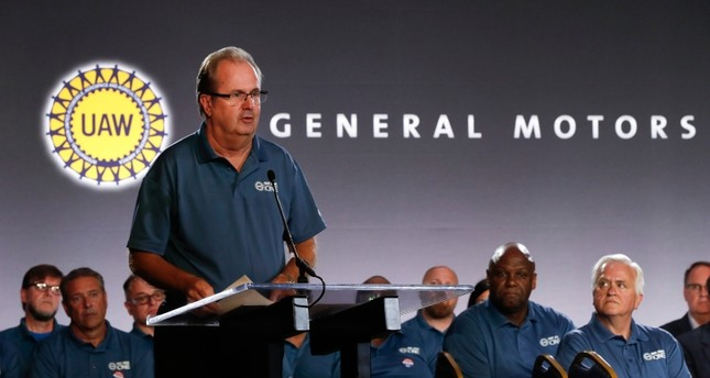 In this July 16, 2019, file photo United Auto Workers President Gary Jones speaks during the opening of their contract talks with General Motors in Detroit. (AP Photo)