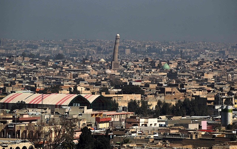 A general view shows the leaning minaret of the Great Mosque of al-Nuri in Mosul, on March 10, 2017. (AFP Photo)