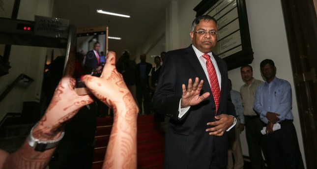 Natarajan Chandrasekaran R, newly appointed chairman of Tata Group, exits after speaking to the media at Bombay House, the Tata Group head office in Mumbai.
