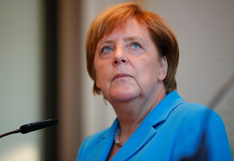 German Chancellor Angela Merkel looks on during a news conference after visiting the state parliament in Dresden, Germany Aug. 16, 2018. (Reuters Photo)