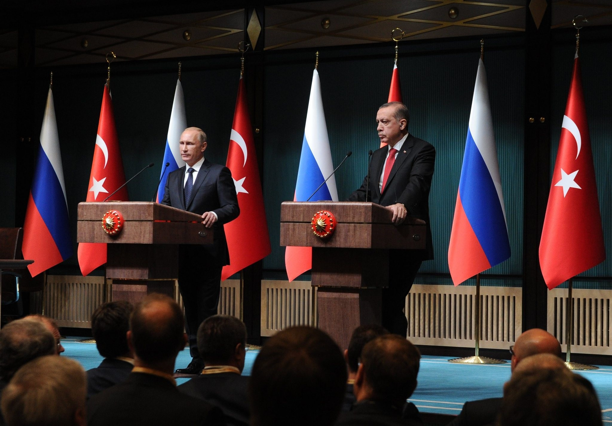 President Erdou011fan and his Russian counterpart Putin speak at a press conference after their meeting in Presidential Palace, Ankara, Dec. 1, 2014.