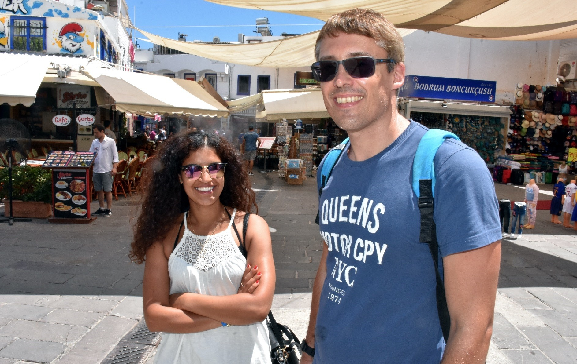 Tim Mu00fchler (R), from Germany, said it was his first time visiting Muu011flau2019s Bodrum district.