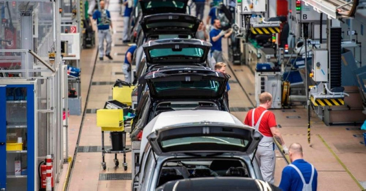 This file photo taken on March 1, 2019 shows an overview of a production line at German car maker Volkswagen's headquarters in Wolfsburg, northern Germany. (AFP Photo)