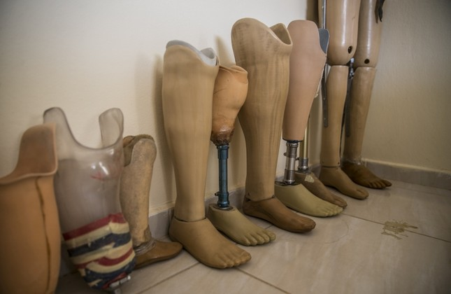Leg prostheses seen at an orthosis-prosthesis center in Hatay, Turkey, Nov. 1, 2018. (AA Photo)