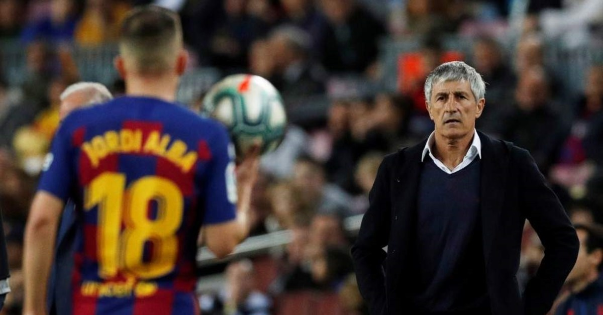 Barcelona coach Quique Setien looks on during the match between Barcelona and Levante, Barcelona, Feb. 2, 2020. (Reuters Photo)