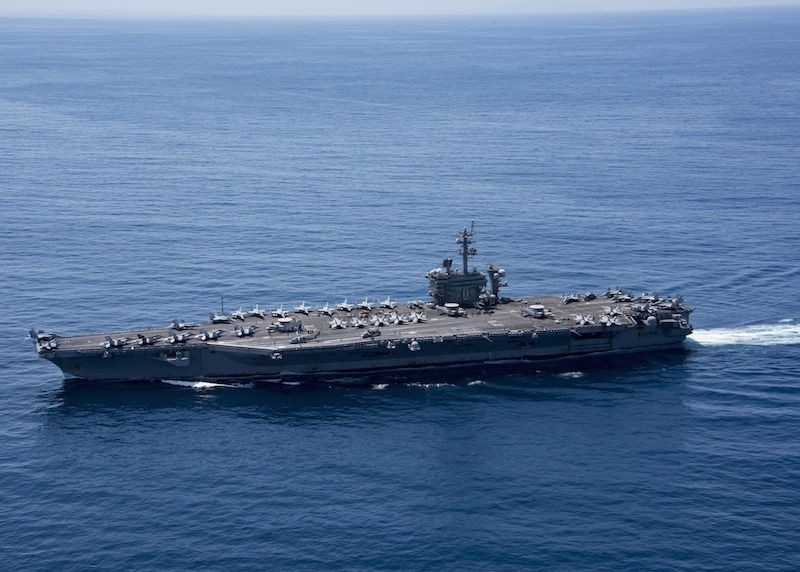 This April 15, 2017 file photo shows the aircraft carrier USS Carl Vinson (CVN 70) transiting the Indian Ocean. AFP Photo