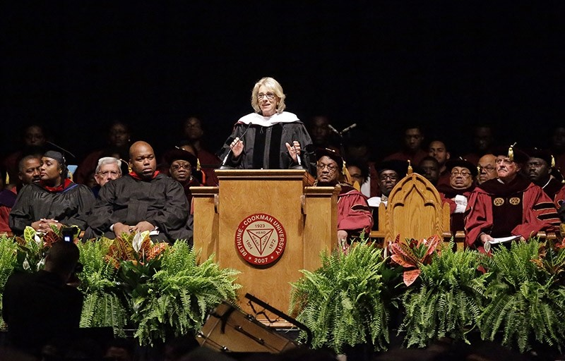 Education Secretary Betsy DeVos delivers a commencement address to graduates at Bethune-Cookman University, Wednesday, May 10, 2017, in Daytona Beach, Fla. (AP Photo)