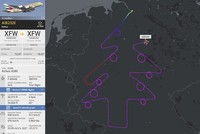 Pilot traces virtual Christmas tree and baubles in test flight over Germany