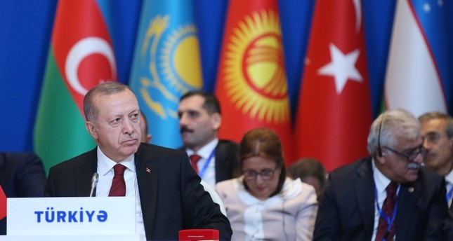 President Recep Tayyip Erdoğan attended the 7th Summit of the Cooperation Council of Turkic Speaking States, Baku, Azerbaijan, Oct. 15, 2019. (AP Photo)