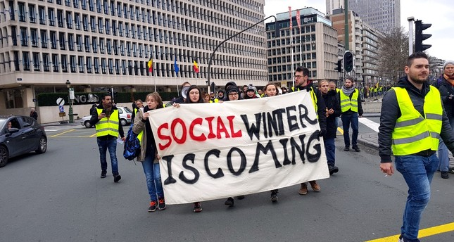 A protest at Schuman Square in the European quarter in Brussels, where the major European Union institutions are located, Dec 8.