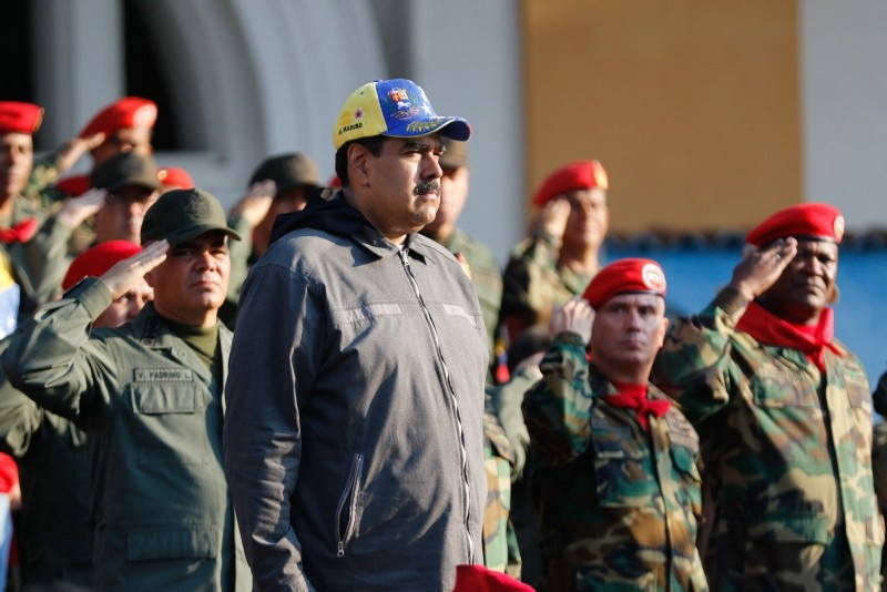 Venezuelan President Nicolas Maduro attends a military ceremony to commemorate the ,27th Anniversary of the Military Rebellion of the 4FEB92 and National Dignity Day,, in Caracas, on February 4, 2019 (AFP Photo)