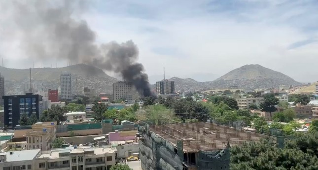 Smoke rises from the site of a blast in Kabul, Afghanistan May 8, 2019, in this still image taken from a video obtained by social media. Reuters Photo