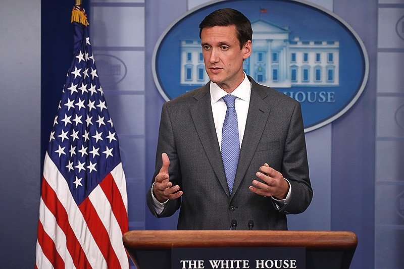 White House Homeland Security Advisor Tom Bossert speaks to reporters about the global WannaCry ,ransomware, cyber attack, prior to the daily briefing at the White House in Washington, U.S. (Reuters Photo)