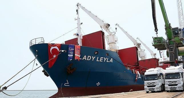 الانتهاء من توزيع أغذية السفينة التركية ليدي ليلي في غزة
