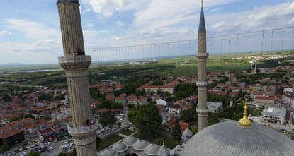 pIn preparation for Ramadan, minarets of the Selimiye Mosque in Edirne have been adorned with mahya, an illuminated message placed between two minarets during the holy month in Islamic countries....
