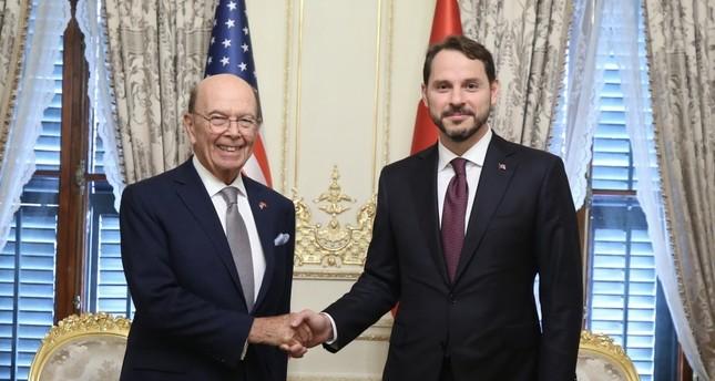 Treasury and Finance Minister Berat Albayrak R shakes hands with U.S. Secretary of Commerce Wilbur Ross, Ankara, Sept. 9, 2019.