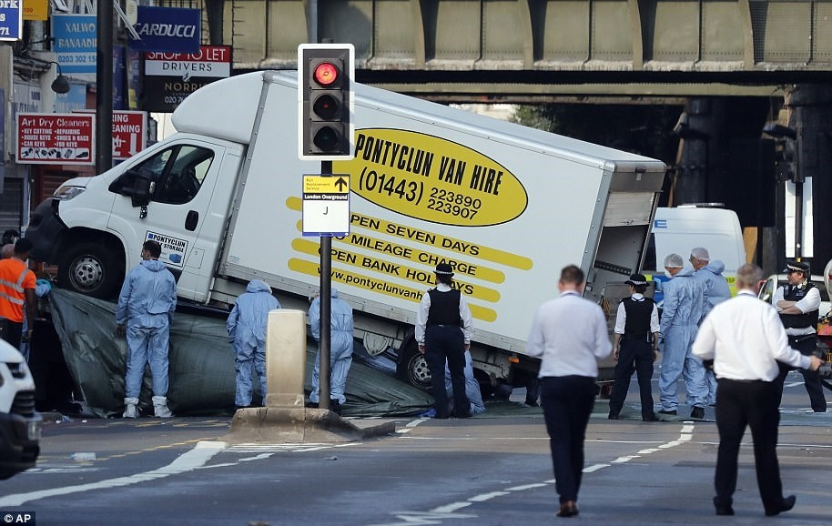 In this file photo dated Monday, June 19, 2017, forensic officers move the van which struck pedestrians near a Mosque at Finsbury Park in north London. (AP Photo)