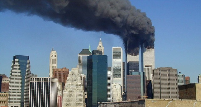 Smoke rises from the World Trade Center after the 9/11 attacks, New York, NY, U.S., Sept. 11, 2001.
