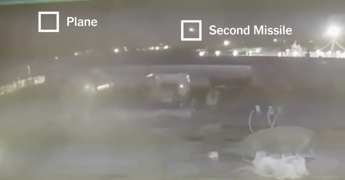 Screenshot of the new footage showing the firing of two missiles at the Ukrainian plane (New York Times Screenshot)