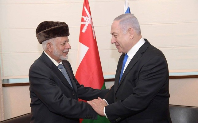 This photo published by Israeli PM's office shows Omani Foreign Minister Ben Alawi during his meeting with Netanyahu at the Intercontinental Hotel in Warsaw