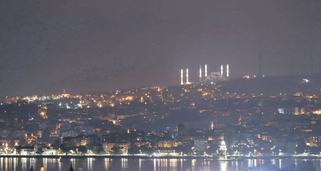 Istanbul's nighttime silhouette changes with new mosque