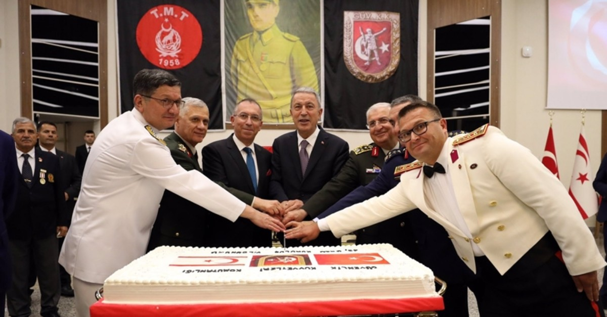National Defense Minister Hulusi Akar attends a reception at the Veteran Officeru2019s Club due to the u201cAug. 1 Social Defiance Festivalu201d celebrated as the TRNC Armed Forces Day, August 1, 2019.