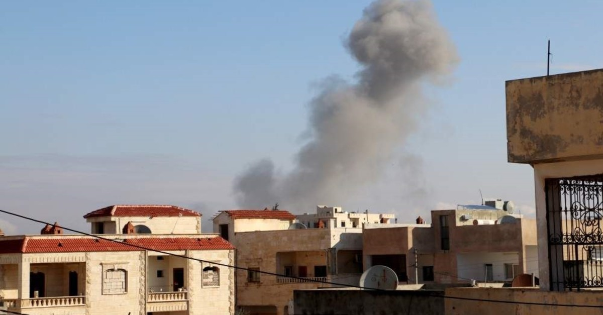Smoke seen following Russian airstrikes in Syria's Idlib on Monday, Dec. 2, 2019 (AA Photo)