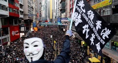 Hong Kong protests cross half-year mark with rally