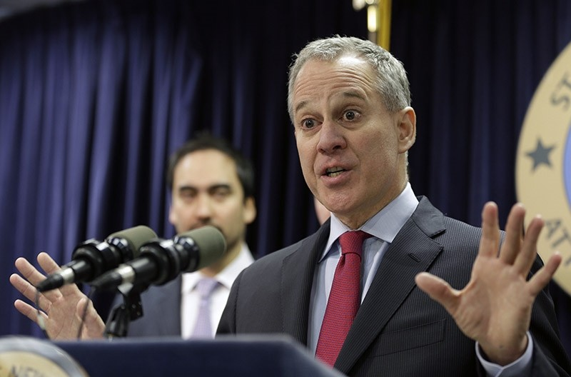 New York Attorney General Eric Schneiderman speaks during a news conference in New York. (AP File Photo)