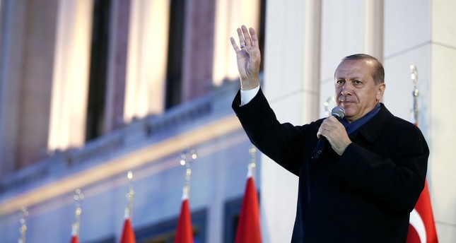 President Erdoğan addresses a large crowd after the April 16 referendum victory in Ankara Beştepe Presidential Complex on Monday, April 17.