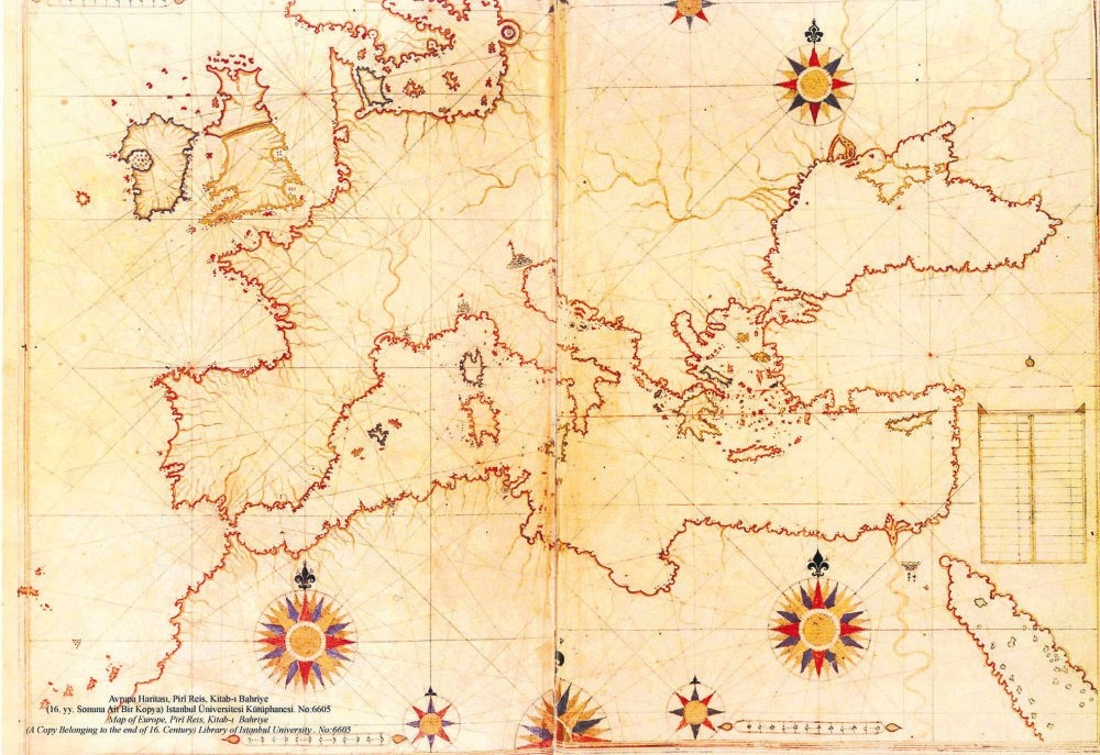 The world map drawn by Piri Reis.