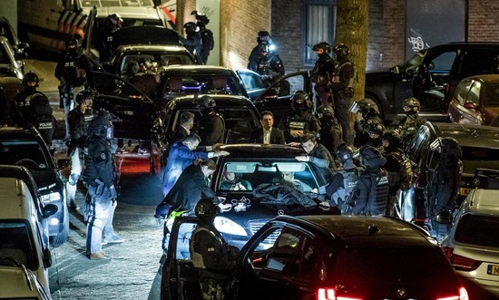 Photo showing brutal treatment of Turkish minister's crew by Dutch security units as if they were terrorists near Turkish Consulate, Rotterdam, Netherlands. (Twitter Photo)