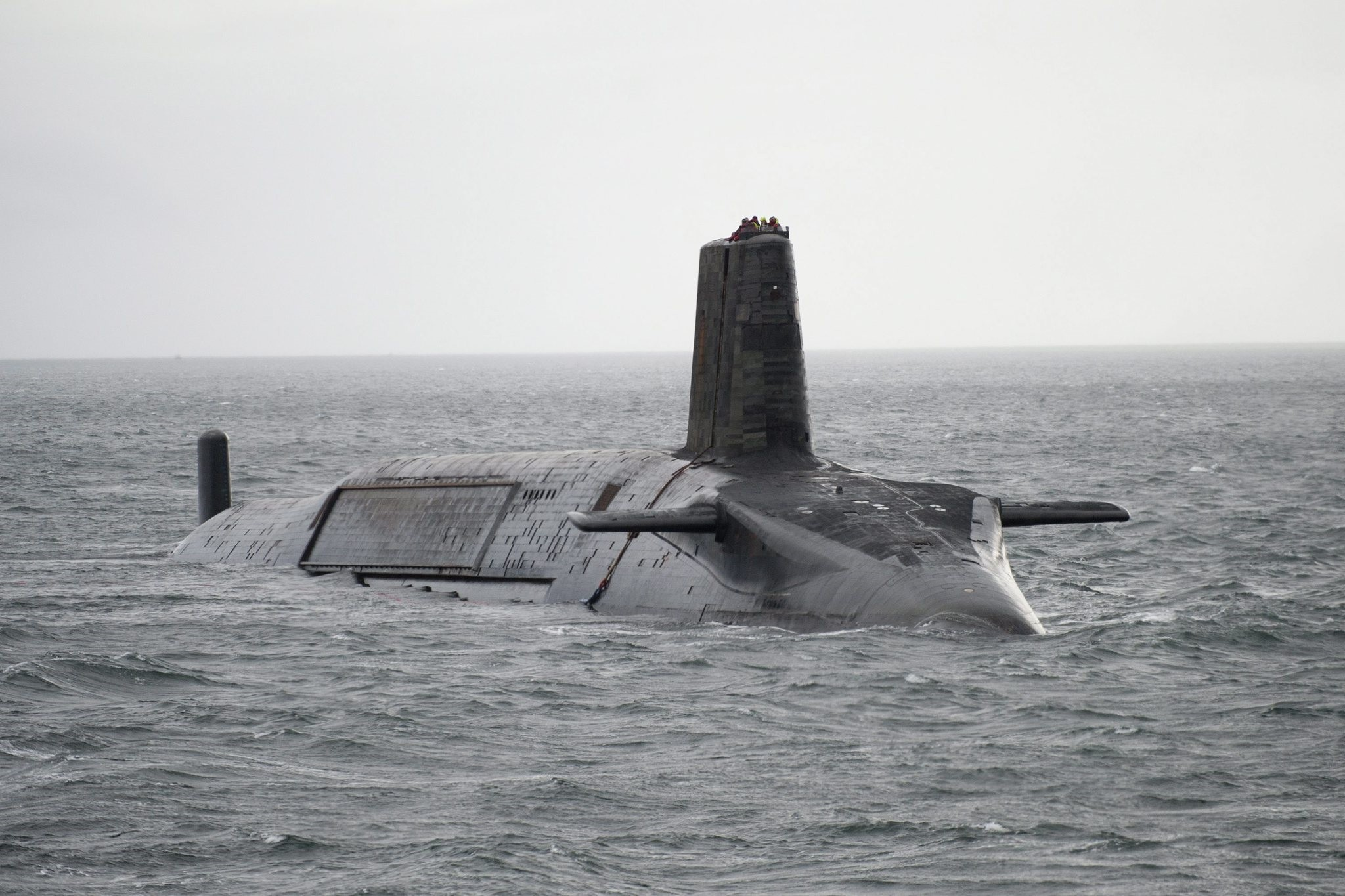 British Royal Navy HMS Vengeance Vanguard Class submarine departing Largs, Scotland, for Devonport, southern England (BRITISH MINISTRY OF DEFENCE DE&S)