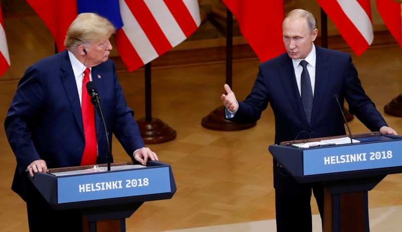 U.S. President Donald Trump and Russian President Vladimir Putin hold a joint news conference after their meeting in Helsinki, Finland, July 16, 2018. (REUTERS Photo)