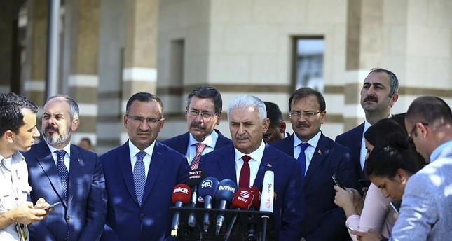 Prime Minister Binali Yıldırım speaks to reporters outside the mosque in the Presidential Complex in Ankara, Turkey on Friday, September 15, 2017. (AA Photo)