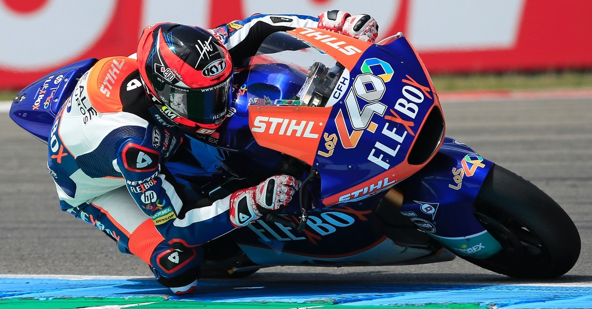 Spainu2019s rider Augusto Fernandez of the FLEXBOX HP 40 steers his motorcycle at the Moto2 race during the Dutch Grand Prix in Assen, northern Netherlands, Sunday, June 30, 2019.