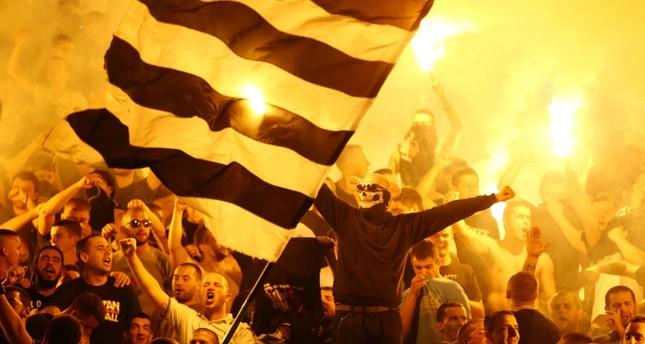 Partizan Belgrade's fans cheer during the Super Liga match against Red Star Belgrade, on September 17, 2019. Reuters Photo