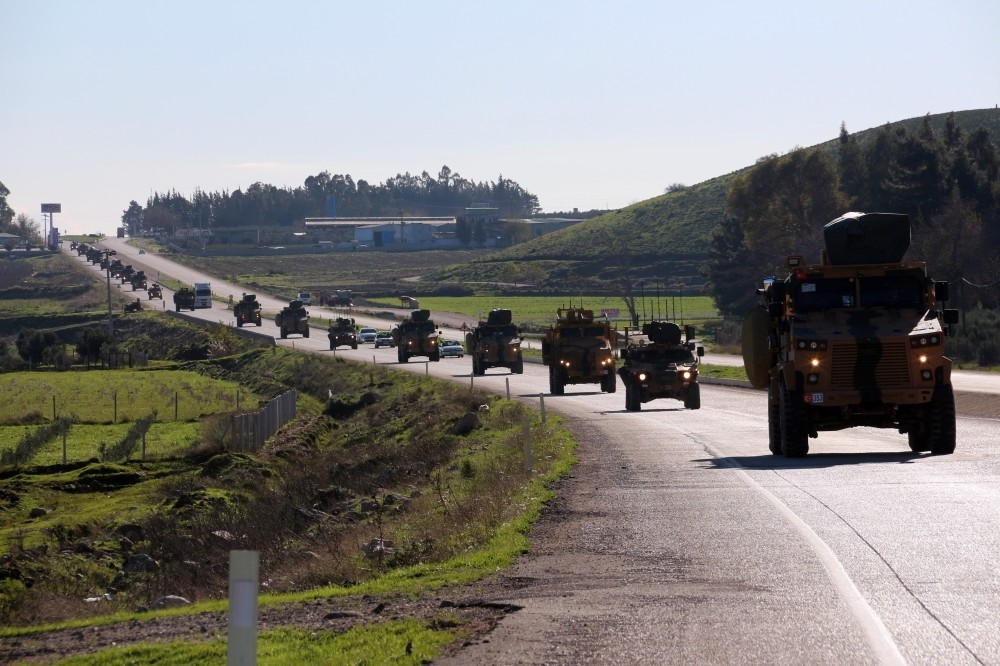 Turkish military reinforcements arrived in the border province of Hatay yesterday, as part of preparations for an offensive east of the Euphrates.