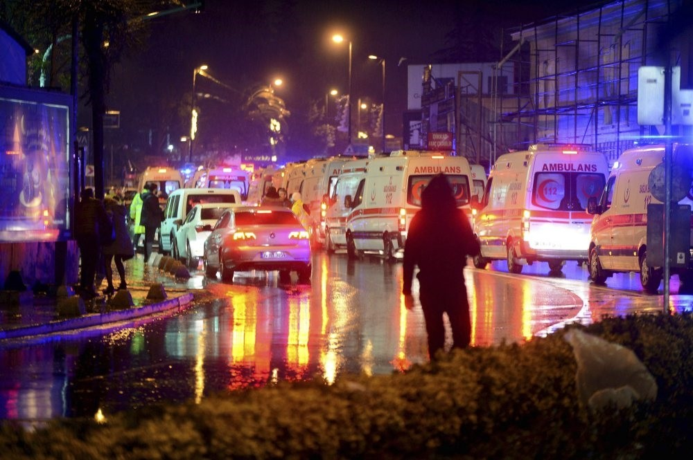 Ambulances transport the wounded after a gun attack on Reina, a popular night club in Istanbul near by the Bosporus, early morning Jan. 1.