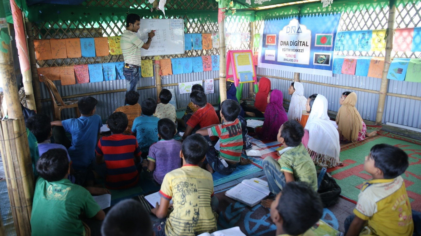 The education center at the Mainnerghona camp is the eighth school built by  a Turkish charity for Rohingya children.