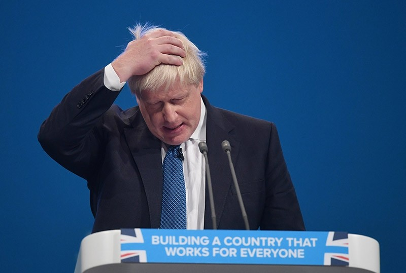 Britain's Foreign Secretary, Boris Johnson delivers his speech on the third day of Conservative Party Conference in Manchester, Britain, 03 October 2017. (EPA Photo)