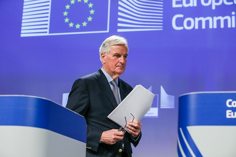 Michel Barnier arrives to gives a press conference on the status of the negotiations, in Brussels, Belgium, 20 December 2017. (EPA Photo)